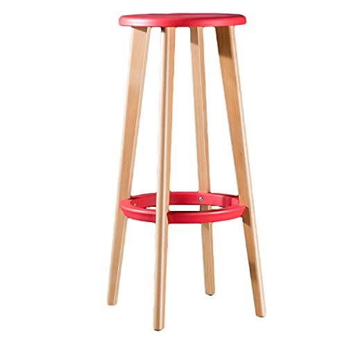 Taburete de taburete redondo de madera Taburetes antideslizantes sólidos Silla de apilamiento de madera Bent Silla apilable Taburetes de cocina Silla de la oficina de la oficina Color de la nuez,Rojo