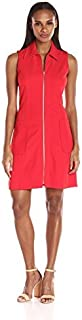 Sharagano Women's Collared Dress Withpockets and Zip