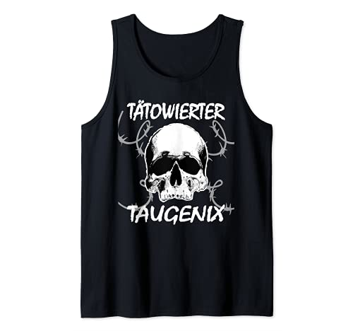 Hombre TAUGENIX Tatuaje con texto en alemán Assi Punker Outfit Punk Camiseta sin Mangas