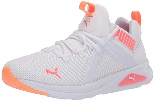 PUMA Women's Enzo Shoe, White-Ignite Pink, 8 M US