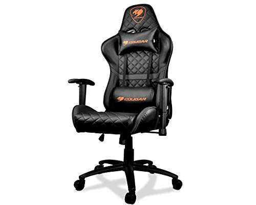 Cougar Armor One Gaming Chair with Reclining and Height Adjustment (Black) black chair gaming
