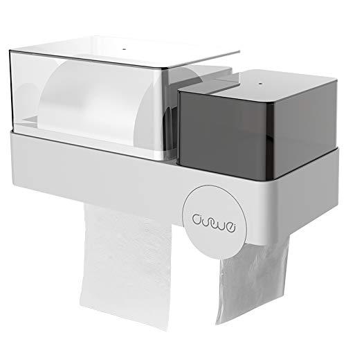 Ashome Multifunktionale WC-Box für Toilettenpapierhalter, Wandmontage, wasserdicht, Papierhalter, magischer Aufkleber, ohne Bohren mit Handy-Ablagefach