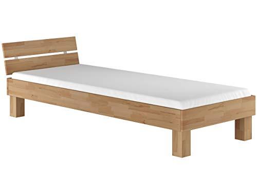 Erst-Holz® Einzelbett in Überlänge 90x220 Buche Massivholzbett Jugendbett Rollrost Matratze 60.86-09-220 M