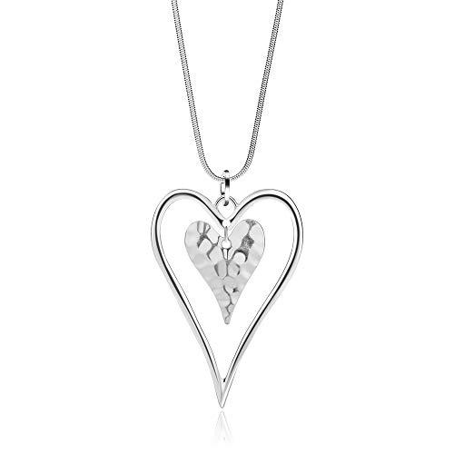 welbijoux Collar Largo de corazón para Mujer, Cadena de Plata con Colgante en Forma de Y, joyería Elegante para niñas con Caja de Regalo