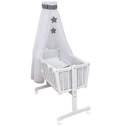 Baby Delux Wiegenset Bettwäsche Set 6-tlg Wiegengarnitur für Babywiege Ausstattung 40x90 Grey Stars