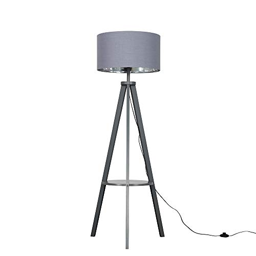 Modern Grey Wood Tripod Design Floor Lamp with Storage Shelf & Grey/Chrome Drum Shade - Complete with a 6w LED Bulb [3000K Warm White]