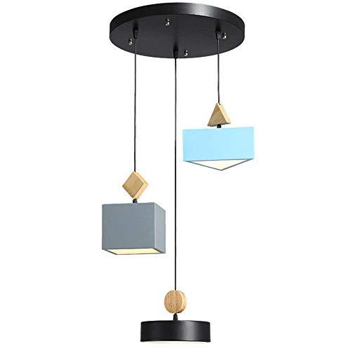 HJW 3 Lichter Modern Einfache Led Pendelleuchte Dimmable Kronleuchter Esstisch Hängende Lichthöhe Verstellbare Pendelleuchte Gummi Holz Kreative Geometrische Hängelampe Kind Schlafzimmer 22Wlue / Gra