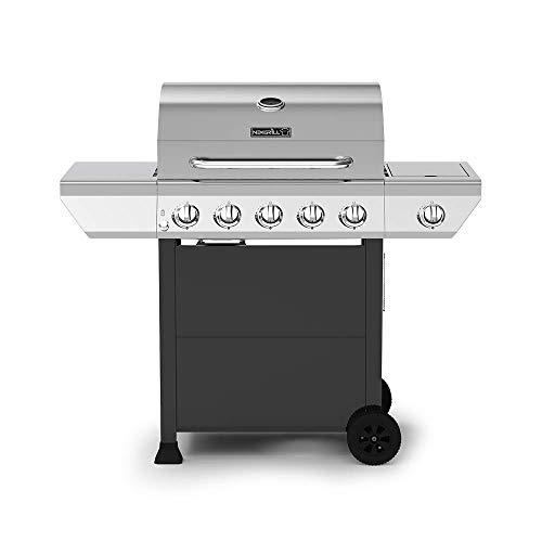 Nexgrill 720-0888N 5-Burner Propane Gas Grill in Stainless Steel with Side Burner and Black Cabinet