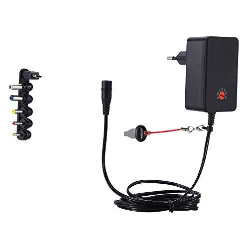 DEYF 18W AC DC Universal Ladegerät Adapter 3V 4,5V 5V 6V 7,5V 9V 12V Multi-Netzteil mit 6 Austauschbare Spitzen für Tablet-PC, Router-Lautsprecher, LED-Streifen, Kameras und mehr (Basic)