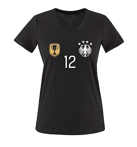 Trikot - Deluxe 2016 - Deutschland - 12 - Damen V-Neck T-Shirt - Schwarz/Weiss-Gold Gr. L