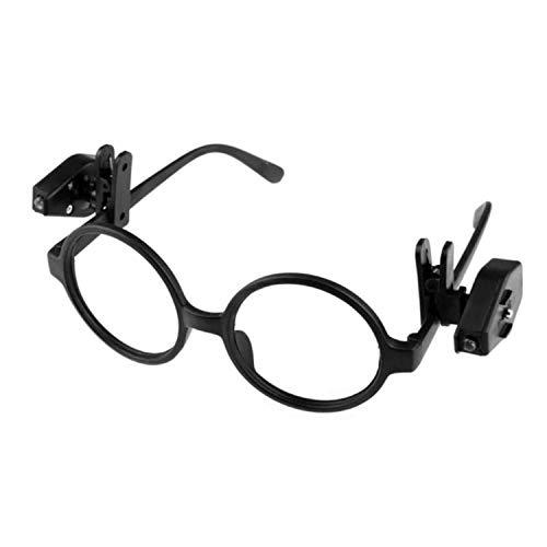 2 x luci LED tascabili a clip, per occhiali, lunga durata, 1 paio di luci da lettura, campeggio, colore: nero