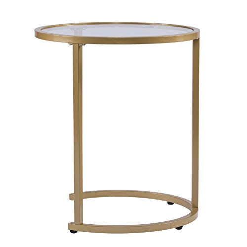 Round Space Saving Design Furniture HotSpot Gold Metal Nesting End Tables 2 Pcs Set