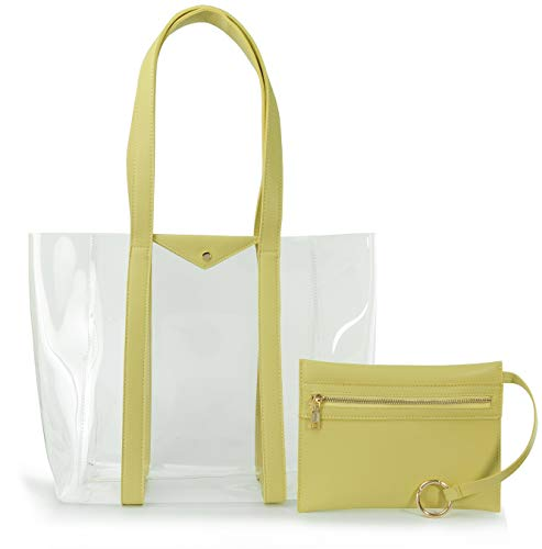 Clear Tote with Vegan Leather Pouch Women Weekender PVC Handbag Shopper Work Bag (Yellow)