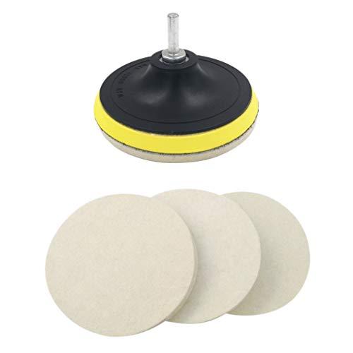 Sonline 3 StüCke 5 Zoll Woll Filz Scheibe Polier Scheiben und StüTz Teller mit M14 Bohrer Kit zu Schleifen und Polieren Glas Kunststoff Metall Marmor