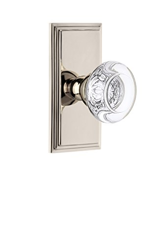 Grandeur 810783 Carre Plate Passage with Bordeaux Crystal Knob in Polished Nickel, 2.375