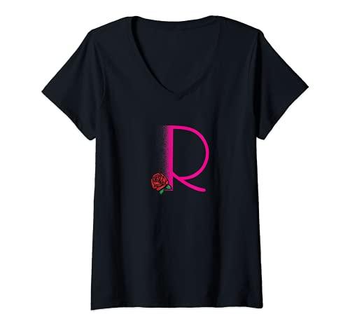 Mujer Inicial Personalizada Camiseta Cuello V