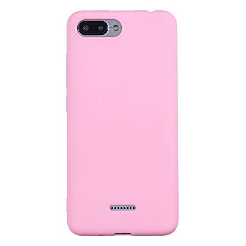 cuzz Funda para Xiaomi Redmi 6A+{Protector de Pantalla de Vidrio Templado} Carcasa Silicona Suave Gel Rasguño y Resistente Teléfono Móvil Cover-Rosa Oscuro