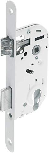 Vachette D4500 - Serrure à Encastrer à Cylindre Réversible | Têtière Bouts Ronds Axe à 40 mm - Pour Porte de Bureau - Blanc