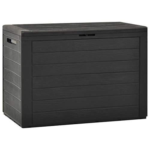 vidaXL Gartenbox Auflagenbox Gartentruhe Kissenbox Truhe Aufbewahrungsbox Gartenmöbel Garten Box Kissentruhe Auflagenkiste Anthrazit 78x44x55cm 190L