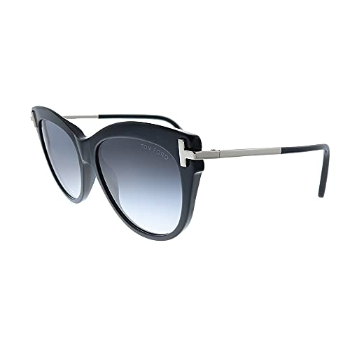 Tom Ford Kira TF 821 01B Shiny Black Plastic Cat-Eye Sunglasses Grey Lens