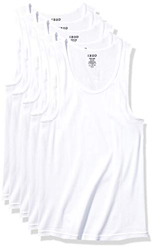 IZOD Men's 5 Pack A-Shirt, White/White/White/White/White, L
