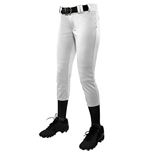 CHAMPRO Youth Tournament Traditional Low-Rise Polyester Softball Pant, Medium, White