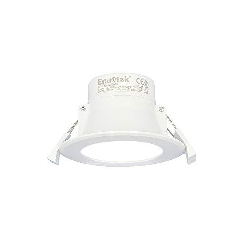 Luminaria Foco Plafon LED Downlight Empotrable en Techo 8W Luz Fria 5000K AC100~240V 70-85MM Diámetro de Instalación IP44 para Cocina Baño Salon Lot de 1 de Enuotek