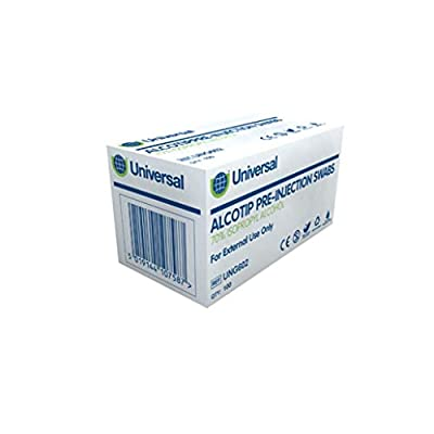 Universal UNG603 Alcotip Pre-Injection Swabs 300Mmx600M m 45Gs m 100 Wipes /Box (Pack of 100) from Shermond