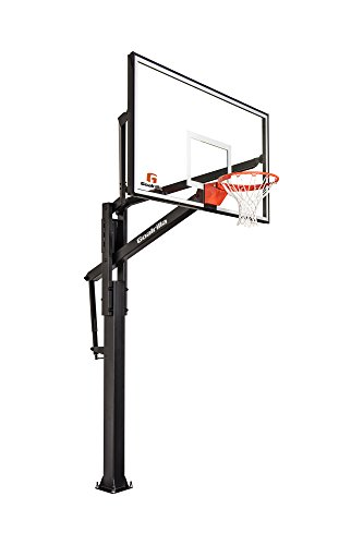 """Goalrilla FT72 Basketball Hoop with Tempered Glass Backboard, Black Anodized Frame, and In-ground Anchor System, 72"""" Black, 72"""" Backboard (B3017W-1)"""