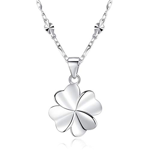 HGSWYUD Sterling Silver Necklaces,Pendant Birthstone Necklace in Lucky Clover,Long Choker Necklace Wedding Anniversary Birthday Mother's Day - with Jewellery Box