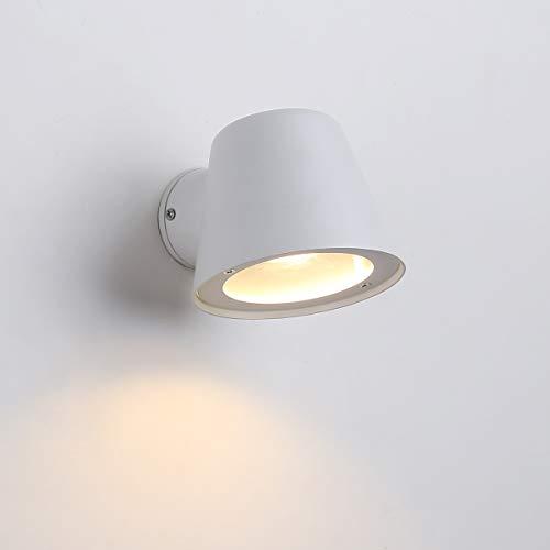 BarcelonaLED Lámpara Aplique de Pared Exterior Interior Foco IP44 Aluminio Blanco Resistente Estilo...