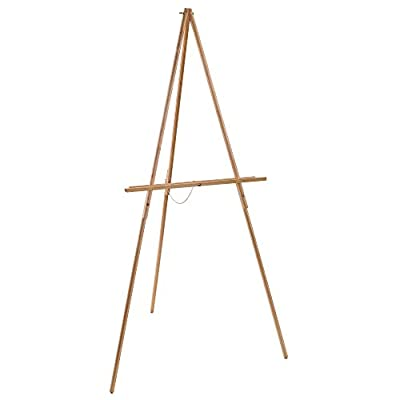 US Art Supply Torrey 64 inch High x 27-1/2 inch Wide Wooden Tripod Display Floor Easel & Artist Easel, Adjustable Tray Chain (1-Easel)