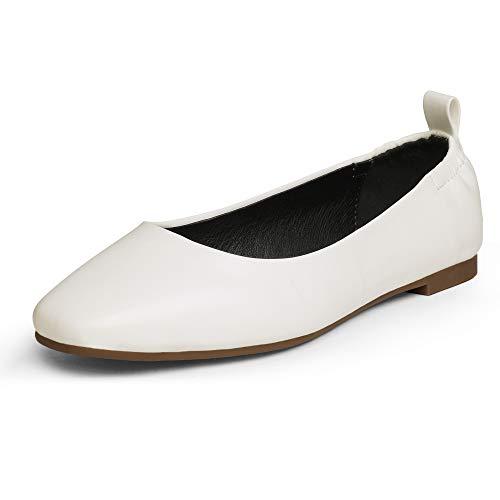 DREAM PAIRS Dfa211 Women's Flats Ballet Comfortable Dress Foldable Shoes Size 8.5  White Pu