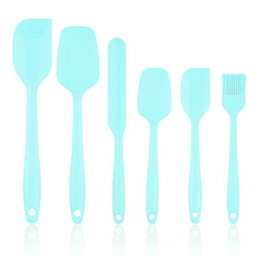 VegKey Juego de 6 utensilios de cocina, con espátula de silicona antiadherente, resistente al calor, fácil de limpiar