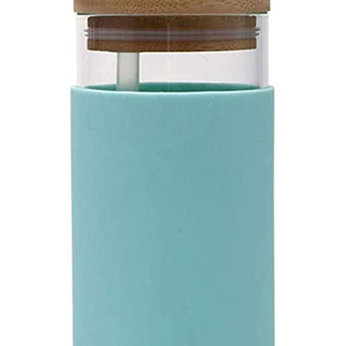 Leikance - Vaso de cristal (500 ml), diseño de paja transparente con tapa de madera, botella de agua de vidrio