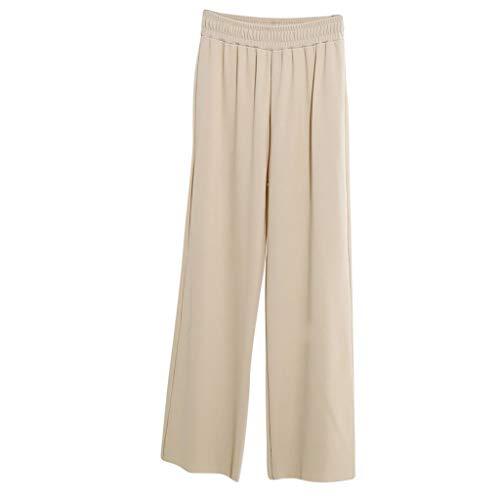 WOZOW Weites Bein Palazzo Hosen Anzughose Damen Solid Einfarbig Lose Swing High Waist Lang Long Arbeitskleidung Straight Slim Elegant Casual Soft Pyjama Trousers (2XL,Beige)