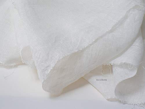 Leinenstoff Meterware, 100{d55ea89753b938e2f5d97b0eafd820c02b987c46403da97328ebb3a5853ce425} leinen gaze stoff weiß, 160 cm breit, leichter, transparenter Chiffonstoff.
