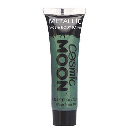 Cosmic Moon - Peinture de maquillage métallique pour le visage et le corps - 12ml - Créez des motifs de maquillage métallique fascinants pour visage! - Inclut: Vert
