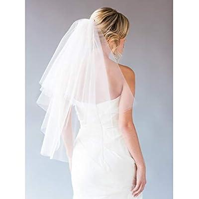Fangsen Wedding Bridal Veil with Comb 1 Tier Bridal Fingertip veil?Fingertip Light Ivory)