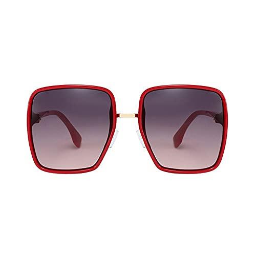 HAIGAFEW Gafas De Sol Grandes De Gran Tamaño para Mujer Gafas De Sol Cuadradas Retro para Mujer Color Degradado Lifting Facial Uv400 Proteger Los Ojos-Rojo