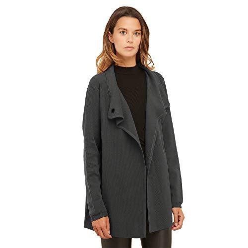 Dames vest jasje van 100% extra fijne merino wol met Elegante knoop in de nek Kleur donkergrijs