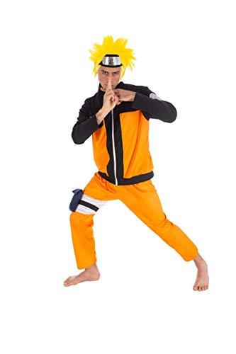 Chaks Naruto-Kostüm für Herren Anime-Kostüm orange-schwarz L