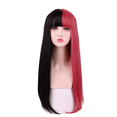 SinRain Half Black Half Rose Pink Fashion Wig For Women Girls (Black/Rose Pink)