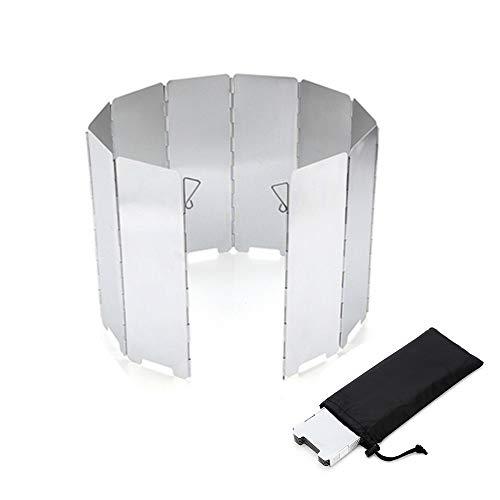 風除板 ウインドスクリーン 折り畳み式 防風板 アルミ製 10枚 強化版 延長版 軽量 収納袋 付き でアウトドア、登山、バーベキューに最適