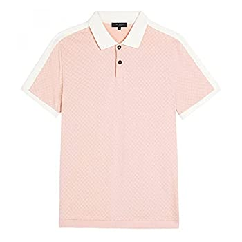 Ted Baker Virtual Short Sleeve Polo with Overarm Detail Light Pink 6  XL