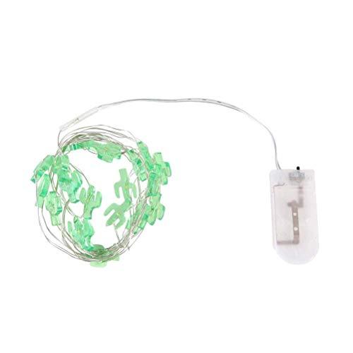 LEDMOMO Fairy Lights Batterie betrieben mit grünen Kaktus Ornamente 20 LED Lichterketten mit Akku-Kammer