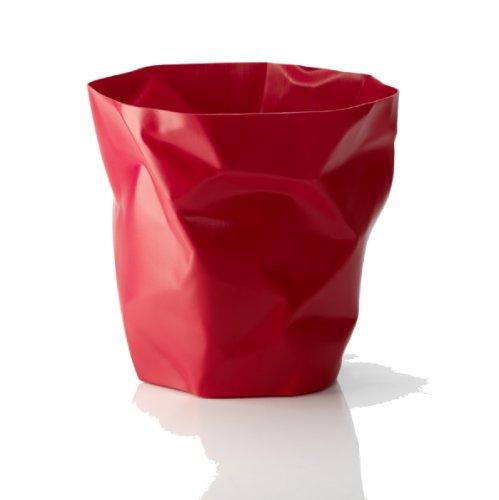 Essey Papierkorb in Knitteroptik rot