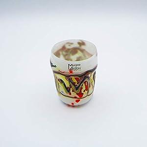 Vaso estilo: bocetos blanco de cristal de Murano abierto a mano, envuelto con manchas y hilos opacos fundidos en su interior. Original Murano Glass. Fabricado en Italia.