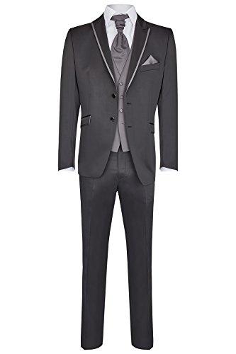 Wilvorst Hochzeitsanzug Lorenzo, schwarz Uni mit grau abgesetztem Trottoir, Slimline Größe 98