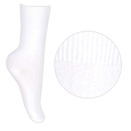 David James Mädchen Socken, Uni Weiß Blanc - Blanc